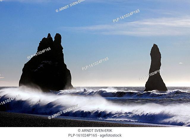 Reynisdrangar, basalt sea stacks near the village Vík í Mýrdal, southern Iceland
