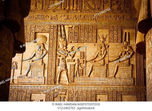 Temple of Hathor DandarahDendera, Ptolemaic period, 1st century b.C. relief scene, Qena, Egypt