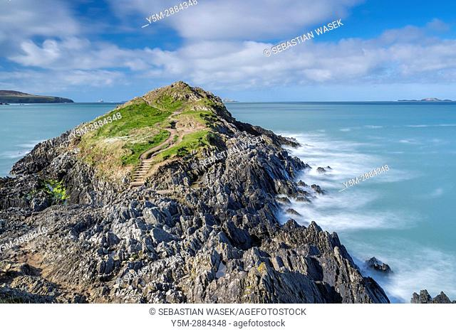 Trwynhwrddyn seen from Wales Coast Path at St David's Head, Pembrokeshire Coast National Park,Wales, United Kingdom, Europe