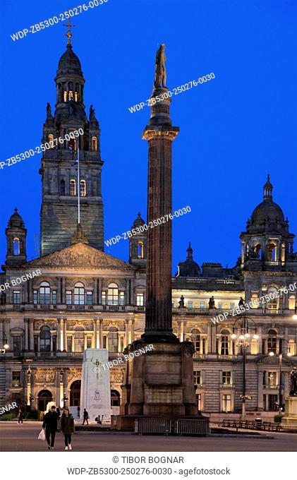 UK, Scotland, Glasgow, George Square, City Chambers