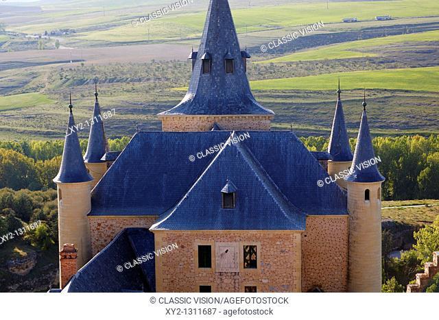Segovia, Segovia Province, Spain  Spires of the Alcazar overlooking surrounding countryside