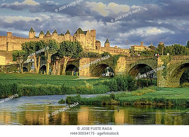 France, Aude region, Carcassonne city, la cite, medieval fortress, W.H., sunset, skyline
