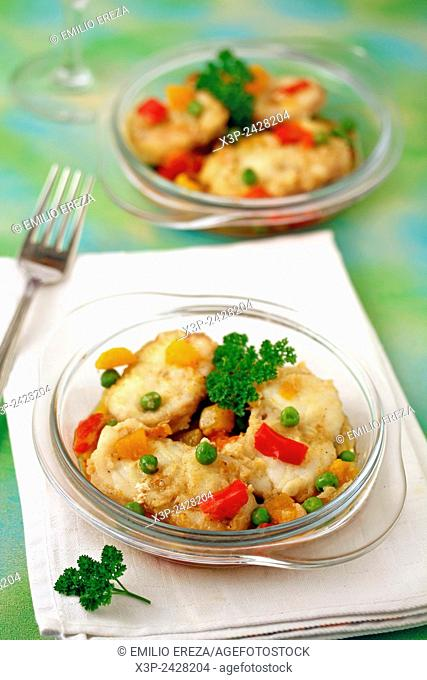 Monkfish with vegetables and curry