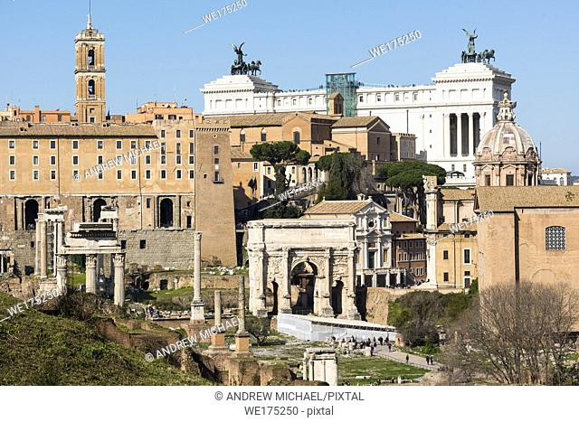 Ancient Rome city skyline with the Roman Forum. Rome. Lazio. Italy