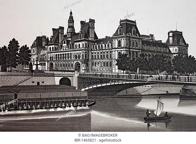 Nouvel Hotel de Ville, historic copper-plate etching, from around 1890, Neal's, Paris, France, Europe