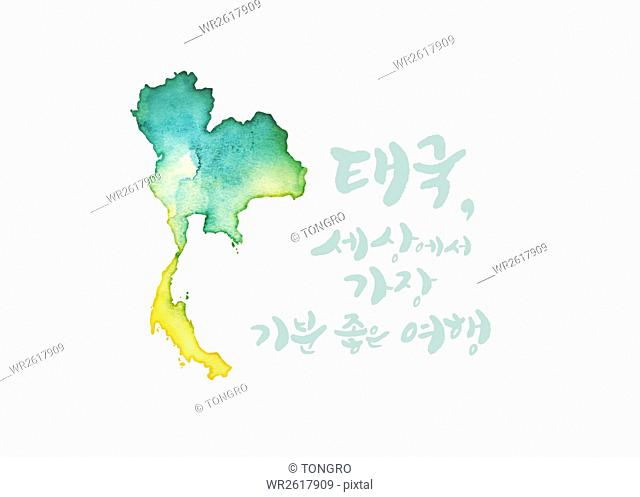 Calligraphic hangul message with map of Thailand