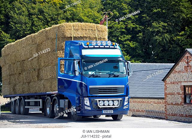 Lorry Hauling Straw Bales Being Weighed On Weighbridge