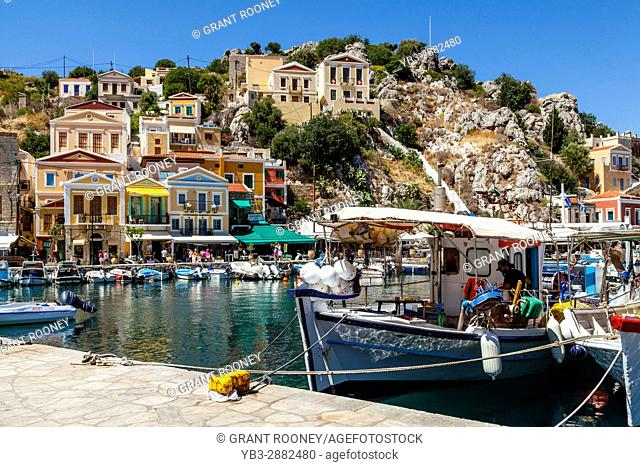Colourful Fishing Boats, The Harbour, Symi Island, Dodecanese, Greece