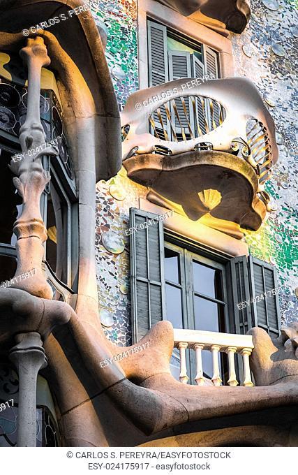 Facade of Casa Batlló, by architect Antoni Gaudi, Barcelona, â. ‹â. ‹Catalonia, Spain, Europe
