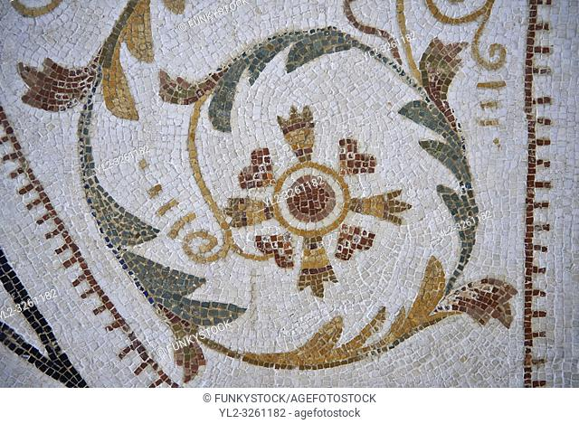 Picture of a Roman mosaics design depicting a geometric tendril designs from a Dionysus mosaic. The ancient Roman city of Thysdrus. 2nd century AD
