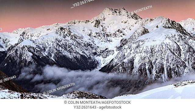 Mt Rolleston, 2275 metres, pre dawn alpenglow, dominant peak Arthur's Pass National Park, Canterbury, New Zealand
