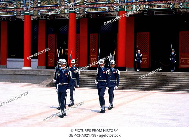 Taiwan: Changing of the Guard, National Revolutionary Martyrs' Shrine (Zhong Lie Ci), Taipei
