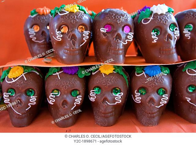Oaxaca, Mexico, North America  Chocolate Candy Sweets Skulls for Day of the Dead Celebrations