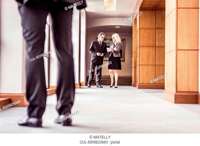 Senior businessman and woman talking in office corridor