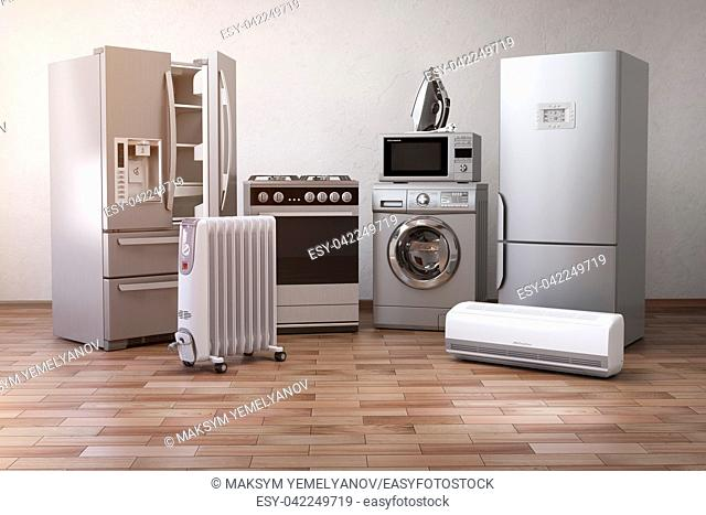 Home appliancess. Set of household kitchen technics in the new appartments or kitchen. E-commerce online internet store nad delivering of appliances concept