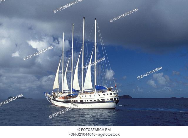 British Virgin Islands, Caribbean, BVI, Sailing vessel on the Caribbean Sea