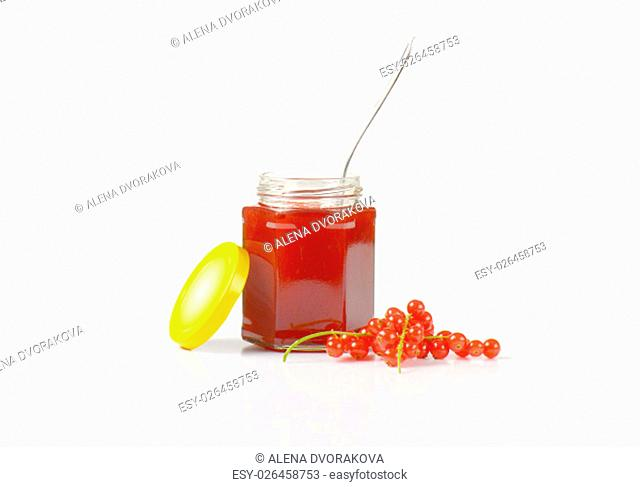 Redcurrant jelly in open jar