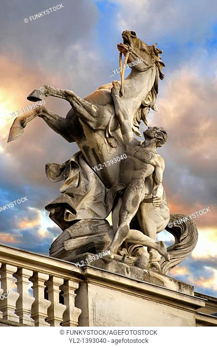 Baroque statues - Festetics Baroque Palace 1745-1887 - Keszthely, Lake Balaton, Hungary