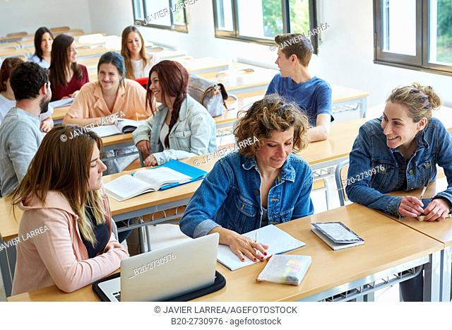 Students sitting at desk in classroom