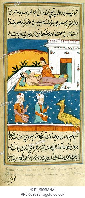 The caesarian birth of Rustam attended by the simurgh and soothsayers. A miniature painting from a ninteenth century manuscript of Muntakhab-i Shahnama