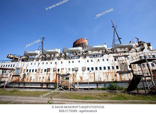 The Duke of Lancaster is a railway steamer passenger ship that is currently beached at Mostyn Docks, North Wales,UK