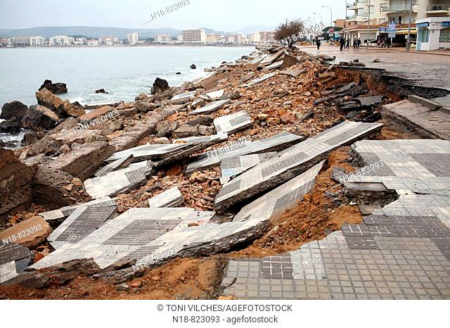 Damage caused by a sea storm that hit the Costa Brava, L'Escala. Baix Emporda, Girona province, Catalonia, Spain