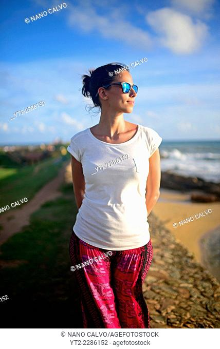 Young woman in Galle Fort, Old Town of Galle, UNESCO World Heritage Site, Sri Lanka