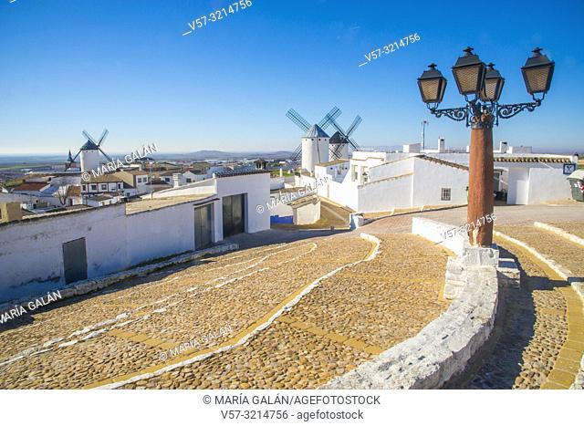 Overview of the village and windmills. Campo de Criptana, Ciudad Real province, Castilla La Mancha, Spain
