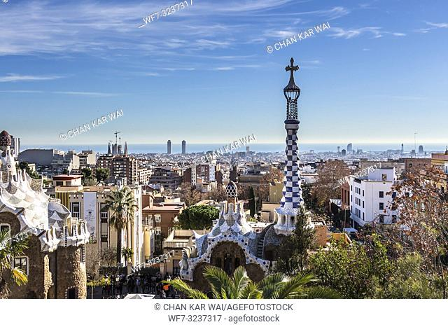 Barcelona - December 2018: City view of Barcelona from Park Guell