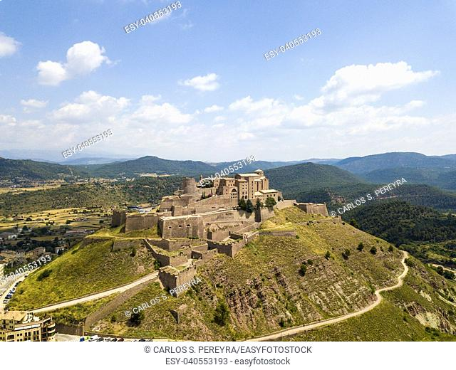 Aerial view of Cardona castle in Catalonia Spain
