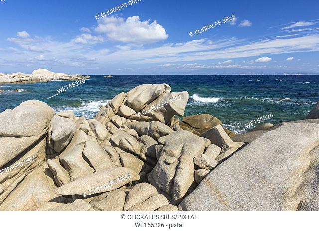 The unusual shapes of cliffs frame the blue sea Capo Testa Santa Teresa di Gallura Province of Sassari Sardinia Italy Europe