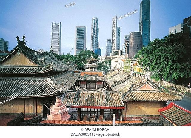Singapore - Singapore - Chinatown - Roofs of the Thian Hock Theng Temple with the Central Business District in the background