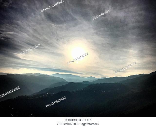 Sunrise in the Cerro del Jaguar ( Jaguar Hill) in Lachatao, in the Sierra Norte of Oaxaca, Mexico