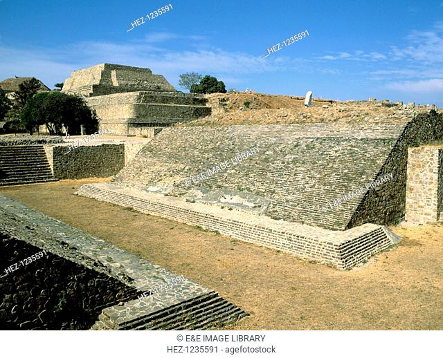 Ball court, Monte Alban, Oaxaca, Mexico. This ball game, in which players tried to shoot a rubber ball through vertical stone rings built into the walls