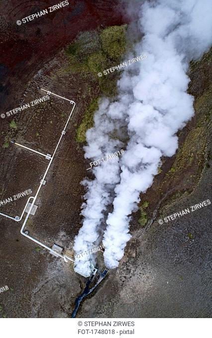 Aerial view of smoke over landscape, Mývatn, Iceland