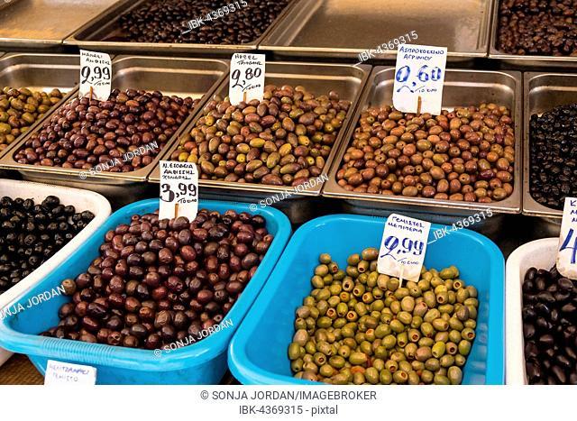 Greek olives, market hall, Central Market, Kentrikí Agorá, Athens, Greece