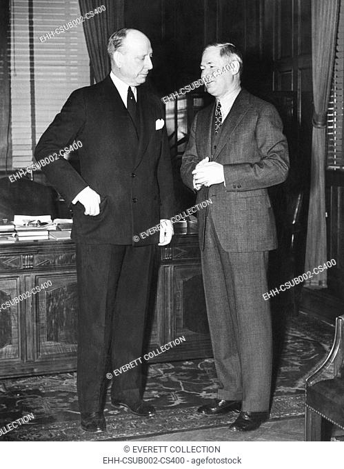 Jersey City Mayor Frank Hague (left), with Gov. Elect Harry Moore of New Jersey, Jan. 7, 1938. Gov. Moore offered his unexpired seat in the United States Senate...