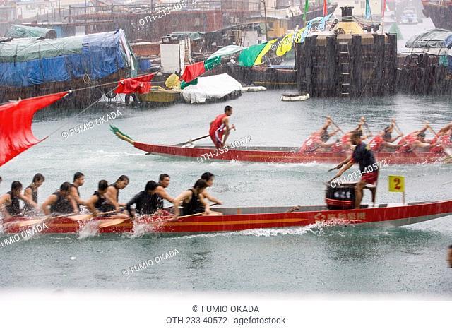 Dragon boat race at Shaukeiwan, Hong Kong