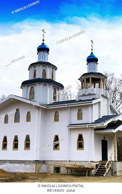 Vertical vivid white blue orthodox church background backdrop