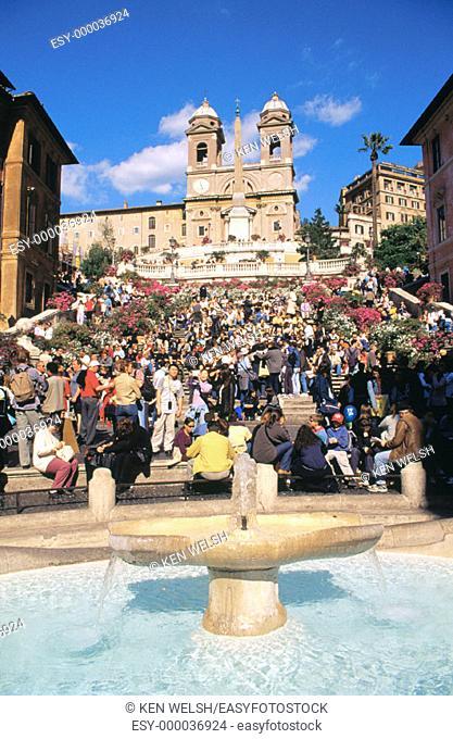 Piazza di Spagna and Church of Trinita dei Monti. Rome. Italy