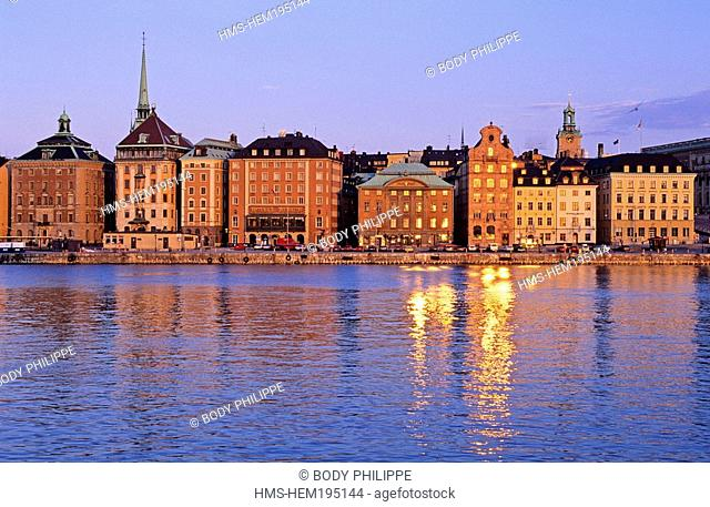 Sweden, Stockholm, old town Gamala Stan, Stadsholmen district, Skeppsbron quays, rich merchants houses dating back to the17th and 18th centuries
