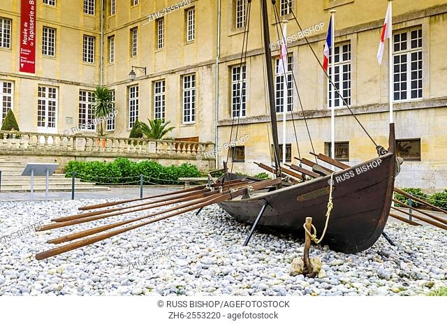 Viking boat at the Bayeux Tapestry Museum, Bayeux, Normandy, France
