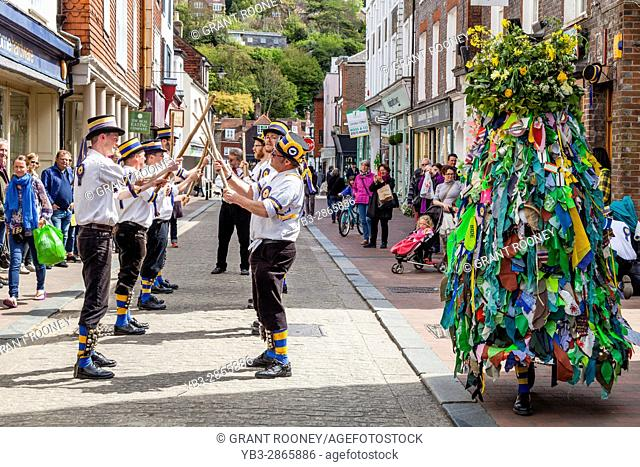 Traditional Morris Dancers Dancing In The High Street, Lewes, Sussex, UK