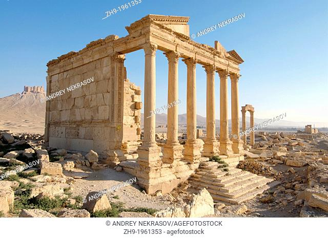 Funerary temple, Dawn over the ancient city of Palmyra, Syria