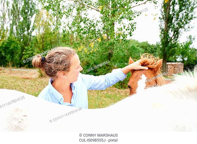 Woman petting horse's forelock in field