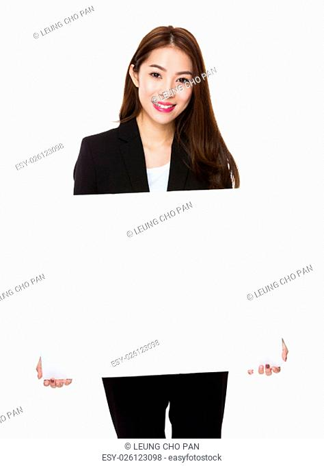 Asian Businesswoman showing the white banner