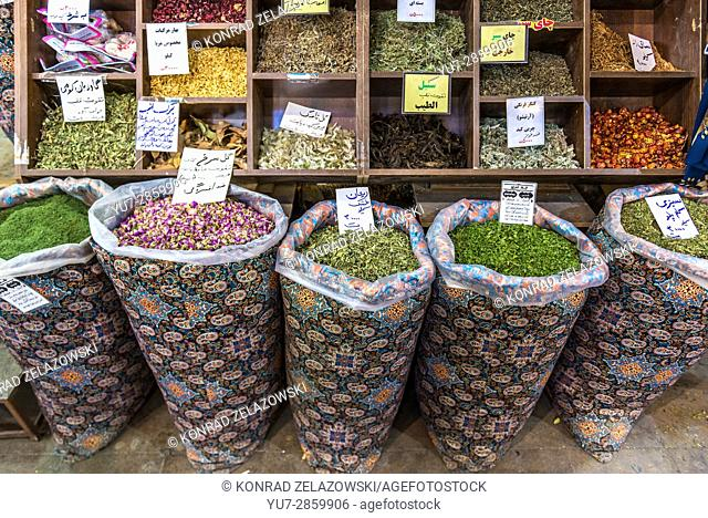 Spices for sale in Vakil Bazaar, main bazaar of Shiraz Shiraz city, capital of Fars Province in Iran