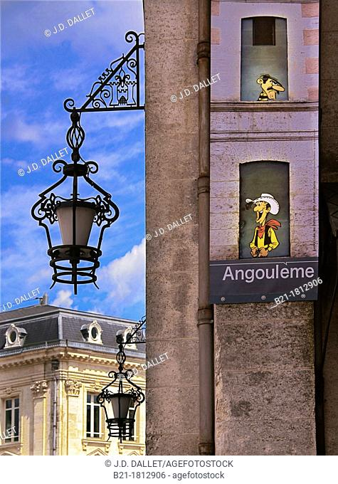 Wall painted in street-art cartoon style at Angoulême, capital of the 'comics', Charente, Poitou-Charentes, France