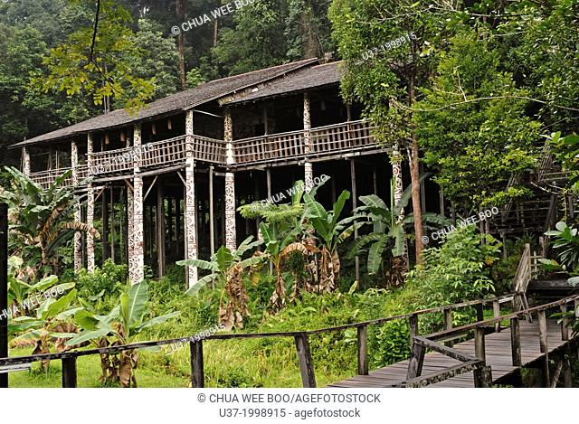 A typical Melanau wooden house at Sarawak Cultural Village