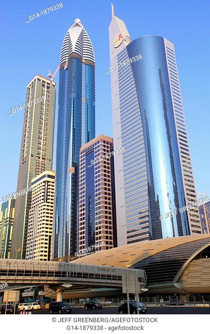 United Arab Emirates, UAE, Dubai, Trade Centre, Sheikh Zayed Road, Financial Centre Metro Station, Red Line, subway, Rose Tower, Al Ghaya Tower